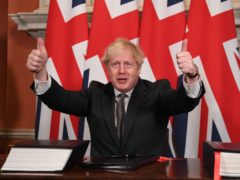 Prime Minister Boris Johnson after signing the EU-UK Trade and Cooperation Agreement at 10 Downing Street (Leon Neal/PA)