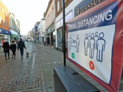 Social distancing signs in Newark-on-Trent in Nottinghamshire (Mike Egerton/PA)