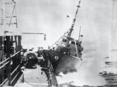 A view of the collision between the Royal Navy frigate and the Icelandic gunboat Thor (PA)
