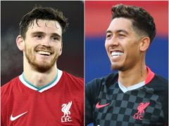 Andy Robertson (left) and Roberto Firmino were in action for Liverpool on Saturday (Peter Powell/Clive Rose/PA)