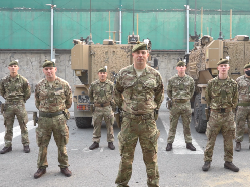 Soldiers from 2nd Battalion The Royal Regiment of Scotland recorded a message for their families at home from the current deployment in Afghanistan (MoD Crown Copyright/PA)