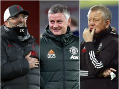 Liverpool boss Jurgen Klopp, left, and Manchester United manager Ole Gunnar Solskjaer, centre, enjoyed a productive 2020 but there are concerns for Sheffield United chief Chris Wilder (Clive Brunskill/Rui Vieira/Andrew Boyers/PA)