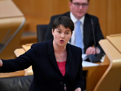 Scottish Conservative Holyrood leader Ruth Davidson challenged the First Minister on the amount of cash support available for businesses ( Jeff J Mitchell/PA)