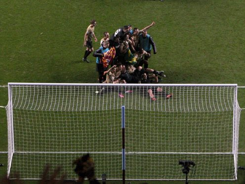 Bradford City players celebrate after the final whistle (Nick Potts/PA)