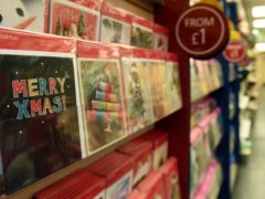Christmas cards on sale in a Clintons store in Solihull (Joe Giddens/PA)