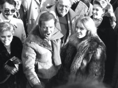 Fiona Fullerton, Roger Moore and Tanya Roberts at the re-opening of Pinewood Studios, after it was destroyed by a fire (PA)