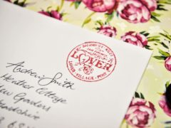 A rubber stamp on a mock up Valentines card (Ben Birchall/PA)