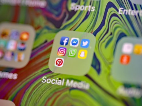 Stock photo of Facebook, Messenger, Twitter, Instagram, WhatsApp, Snapchat and Pinterest, social media app icons on a smart phone.