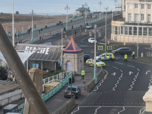 Police presence at Brighton seafront after the incident (@HLOBlog/Twitter/PA)