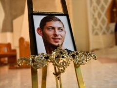 A portrait of Emiliano Sala is displayed at the front of St David's Cathedral, Cardiff (PA)