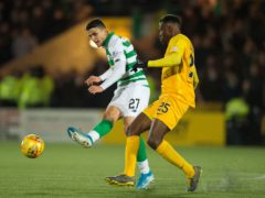 Efe Ambrose, right, in action against Celtic (Ian Rutherford/PA)