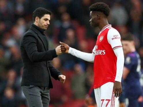 Arsenal manager Mikel Arteta has been impressed by Bukayo Saka's leadership in recent weeks. (Bradley Collyer/PA)