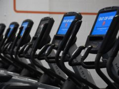 'Out Of Use' markers on exercise machines inside the Gym Group in Vauxhall, London (Kirsty O'Connor/PA)