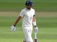 Joe Root was dismissed to the final ball of the day (Mike Hewitt/PA)