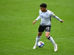 Swansea City's Morgan Gibbs-White during the Sky Bet Championship match at the Liberty Stadium, Swansea.