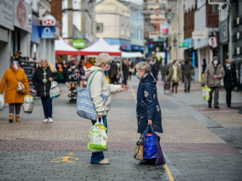 People on the high street in Merthyr Tydfil in Wales in 2020. Customer service satisfaction with businesses is at its worst levels overall since July 2015, according to the Institute of Customer Service (Ben Birchall/PA)