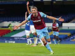 Tomas Soucek celebrates his winner against Everton (Peter Byrne/PA)