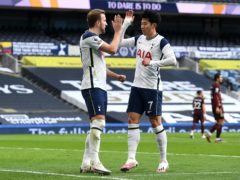 Harry Kane, left, and Son Heung-min inspired Tottenham to a 3-0 win over Leeds (Andy Rain/PA)