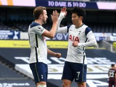 Harry Kane and Son Heung-min celebrate after another devastating display (Andy Rain/PA)