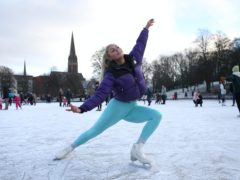 Jenni Kerr ice skates on a frozen pond in Queen's Park in Glasgow (Andrew Milligan/PA)