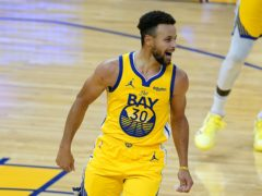 Golden State Warriors guard Steph Curry smiles after scoring 62 points against the Portland Trail Blazers (Tony Avelar/AP)