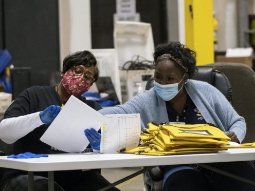 Elections workers at the Fulton County Georgia elections warehouse (Ben Gray/AP)