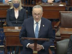 In this image from video, Senate Minority Leader Chuck Schumer speaks as the Senate reconvenes after protesters stormed into the US Capitol (Senate Television via AP)