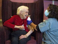 Ellen Prosser receives the Oxford/AstraZeneca Covid-19 vaccine (Kirsty O'Connor/PA)