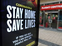 A Stay Home Save Lives sign on Broadmead in Bristol during England's third national lockdown (Andrew Matthews/PA)