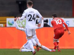 Ashley Nadesan, right, scored Crawley's second goal against Leeds (Adam Davy/PA)