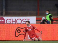 Crawley's Jordan Tunnicliffe celebrates scoring (Adam Davy/PA)
