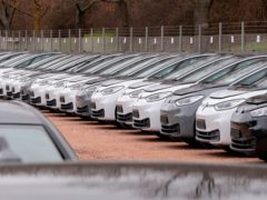 Cars stand at the factory area during a press tour at the plant of the German manufacturer Volkswagen AG ,VW, in Zwickau, Germany (Jens Meyer/AP)