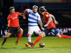 Charlie Austin aims at the Luton goal (Zac Goodwin/PA)