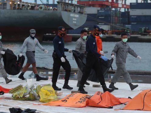 Debris found in the waters around Sriwijaya Air passenger jet crash site (Achmad Ibrahim/AP)
