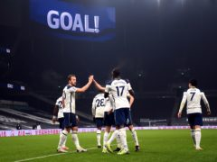 Tottenham players celebrate after Harry Kane's goal against Fulham (Shaun Botterill/PA)