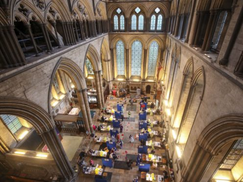 Cubicles erected inside Salisbury Cathedral (Steve Parsons/PA)