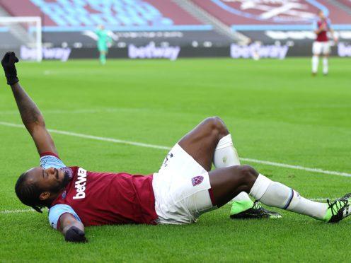 Michail Antonio celebrates scoring for West Ham against Burnley (Julian Finney/PA).