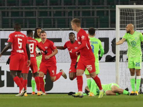 Willi Orban, third from left, helped Leipzig fight back at Wolfsburg (AP Photo/Michael Sohn, pool)