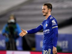 James Maddison mimes a handshake in a socially-distanced celebration of his goal (Tim Keeton/PA)