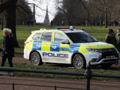 Police on patrol in Hyde Park, London, during England's third national lockdown to curb the spread of coronavirus.