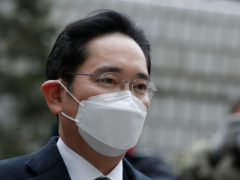 Samsung Electronics vice chairman Lee Jae-yong arrives at the Seoul High Court (Lee Jin-man/AP)