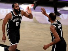 James Harden and Kevin Durant guided the Brooklyn Nets to victory (Adam Hunger/AP)