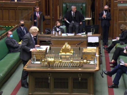 Boris Johnson speaks during Prime Minister's Questions in the House of Commons (House of Commons/PA)