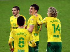 Jordan Hugill celebrates scoring Norwich's second goal (Joe Giddens/PA)