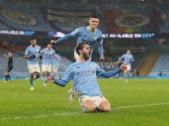 Bernardo Silva, bottom, scored a crucial, but controversial, goal against Aston Villa (Martin Rickett/PA)