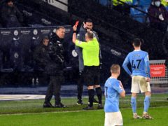 Aston Villa manager Dean Smith was sent off by referee Jon Moss at Manchester City on Wednesday (Shaun Botterill/PA)