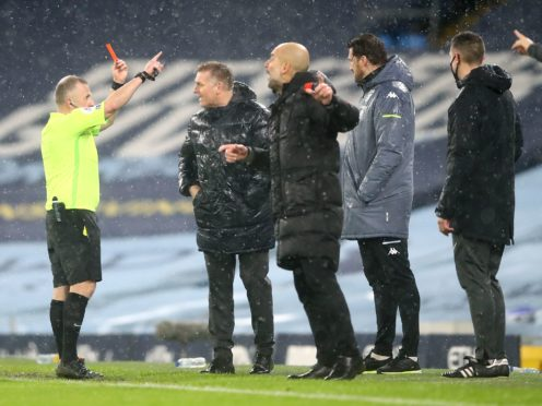 Aston Villa manager Dean Smith, second left, was sent off during Wednesday's controversial 2-0 defeat to Manchester City (Martin Rickett/PA)
