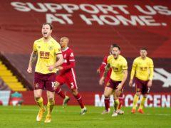 Ashley Barnes celebrates at Anfield (Jon Super/PA)