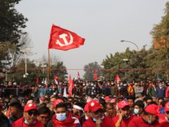 Nepalese protesters march in Kathmandu /Niranjan Shrestha/AP)