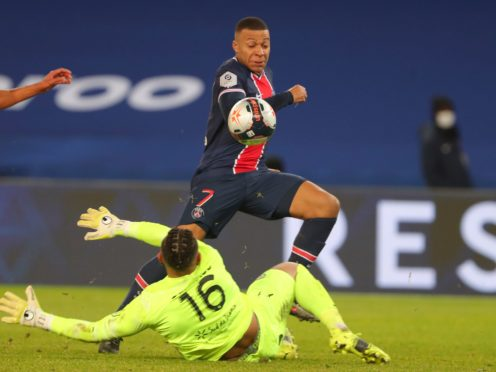 Kylian Mbappe scored a goal in either half against Montpellier (Thibault Camus/AP)